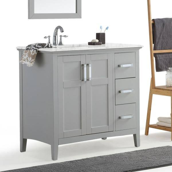 Simpli Home Winston 36 In Left Offset Bath Vanity In Warm Grey With Marble Extra Thick Vanity Top In Bombay White With White Basin Winstonwg 36 L The Home Depot