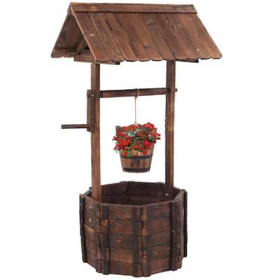 Decorative Wooden Wishing Well Flower Planter Patio Garden Outdoor Home Decor with Hanging Bucket