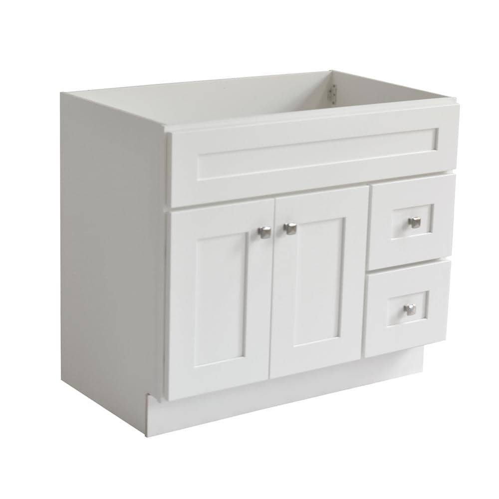 Design House Brookings Plywood Rta 36 In W X 21 In D 2 Door 2 Drawer Shaker Style Bath Vanity Cabinet Only In White 586958 The Home Depot