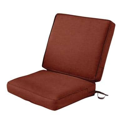 Montlake FadeSafe 20 in. W x 24 in. H Outdoor Dining Chair Cushion with Back in Heather Henna