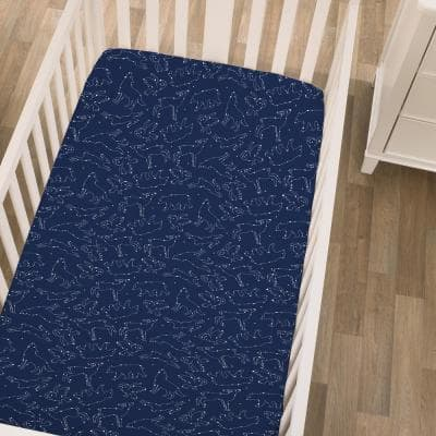 Super Soft Navy and White Cosmic Constellations Polyester Nursery Mini Crib Fitted Sheet