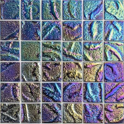 Marina Iridescent Squares Black 11.75 in x 11.75 in. x 8 mm Glass Mosaic Wall Tile