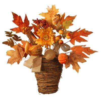 Harvest Accessories 16 in. Basket with Pumpkins and Maple
