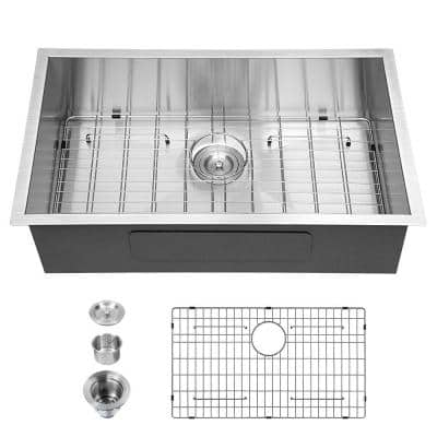 Stainless Steel 32 in. 18-Gauge Single Bowl Undermount Kitchen Sink