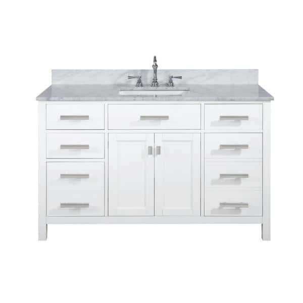 Design Element Valentino 54 In W X 22 In D Bath Vanity In White With Carrara Marble Vanity Top In White With White Basin V01 54 Wt The Home Depot