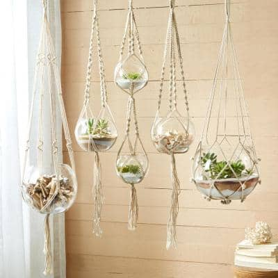 Handcrafted Macrame Clear Plant Hangers/Candleholders Includes Cream Colored Cotton Rope and Glass Bowl (Set of 5)