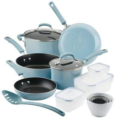 Blue Nonstick Cookware Set with Containers, 19-Piece
