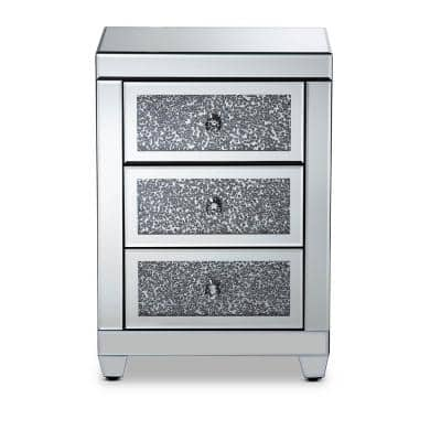 Ralston 3-Drawer Mirrored and Sliver Nightstand 26 in. H x 18 in. W x 14 in. D