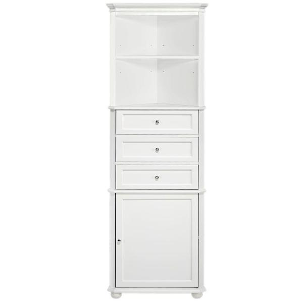 Home Decorators Collection Hampton Harbor 23 In W X 13 In D X 67 1 2 In H Corner Linen Cabinet In White Bf 21893 Wh The Home Depot