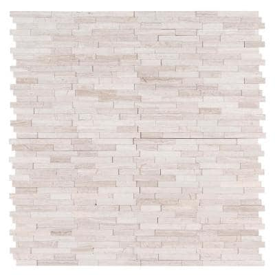 White Quarry 3D Peel and Stick 12 in. x 12 in. x 6 mm Interlocking Honed Marble Mosaic Tile (15 sq. ft. / case)