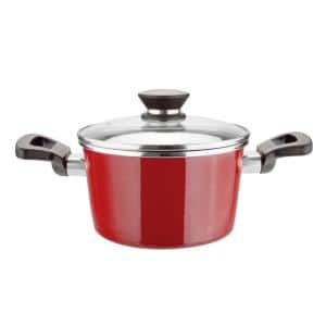 Coral 4 qt. Round Porcelain-Coated Steel Nonstick Casserole Dish in Red with Glass Lid