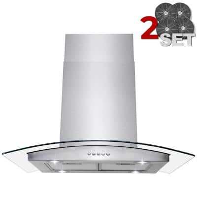 30 in. 343 CFM Convertible Island Mount Range Hood in Stainless Steel with Glass, Touch Control and 2 Set Carbon Filters
