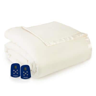 King/Cal King Ivory Electric Heated Comforter/Blanket