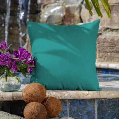 16 x 16 Surf Canvas Texture Square Outdoor Throw Pillow (2-Pack)