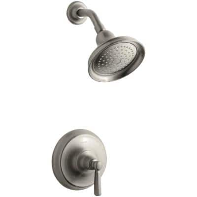 Bancroft 1-Spray 6.4 in. Single Wall Mount Fixed Shower Head in Vibrant Brushed Nickel