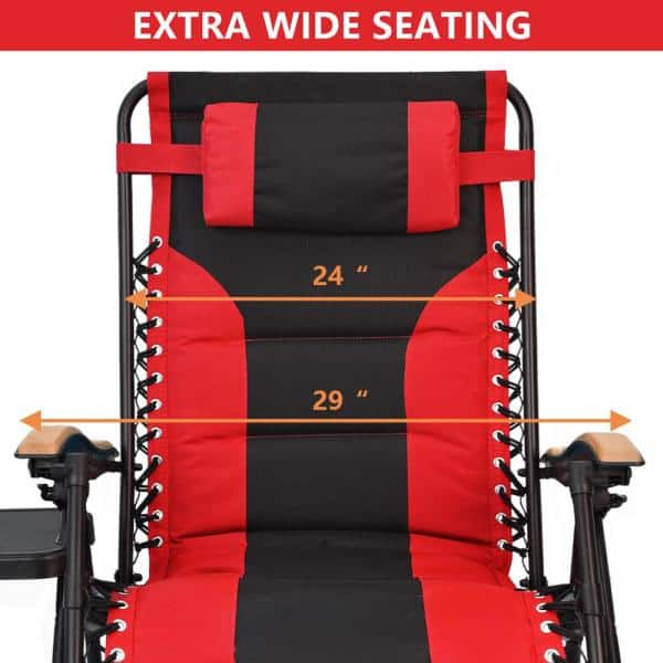 Upha Red Black Zero Gravity Steel, Red And Black Folding Patio Chairs
