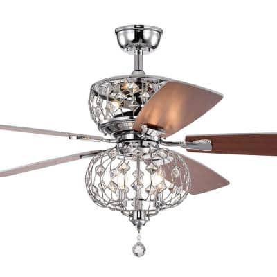 Ariana 52 in. Indoor Chrome Ceiling Fan with Light Kit and Remote Control