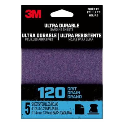4.5 in. x 5.5 in. 120-Grit Ultra Durable Power Sanding (1/4 Sheet, Case of 20, 5-Packs)