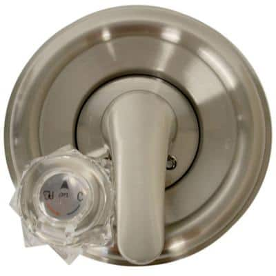 1-Handle Valve Trim Kit in Brushed Nickel for Delta Tub/Shower Faucets (Valve Not Included)