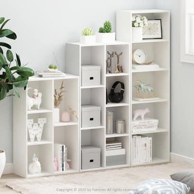 Tropika 31.5 in. White Faux Wood 5-shelf Standard Bookcase with Storage