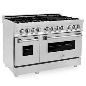 ZLINE 48'' 6.0 cu. ft. Dual Fuel Range with Gas Stove and Electric Oven in Stainless Steel and DuraSnow® Door (RA-SN-48)