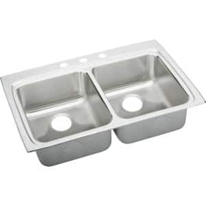Lustertone Drop-In Stainless Steel 33 in. 3-Hole Double Bowl ADA Compliant Kitchen Sink