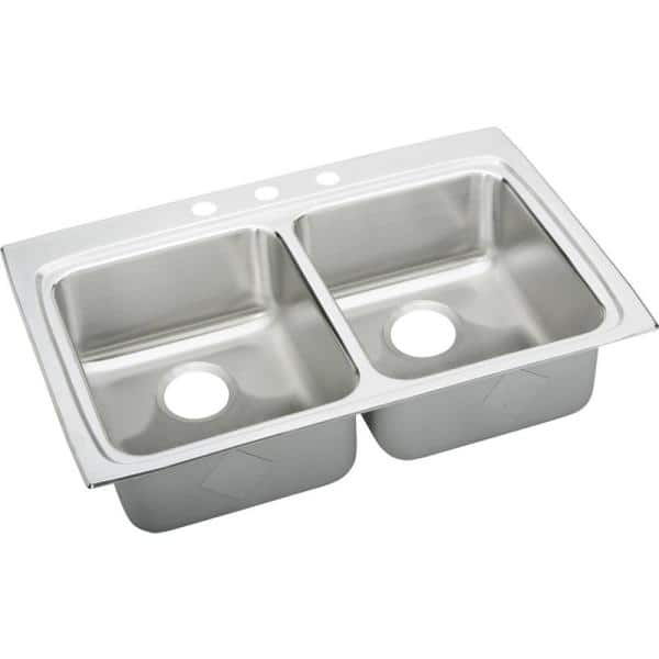 Elkay Lustertone Drop-In Stainless Steel 33 in. 3-Hole Double Bowl ADA Compliant Kitchen Sink | The Home Depot