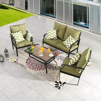 4-Piece Metal Patio Conversation Set with Green Cushions
