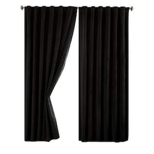 Black Faux Velvet Thermal Blackout Curtain - 50 in. W x 84 in. L