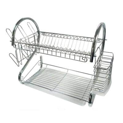 22 in. 2-Tier Silver Chrome Plated Standing Dish Rack