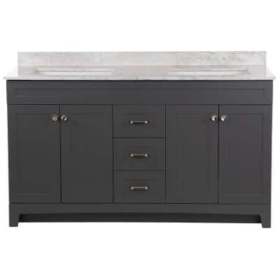 Thornbriar 61 in. W x 22 in. D Vanity in Cement with Stone Effects Vanity Top in Winter Mist with White Sink