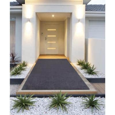 Grey Grass 3 ft. 11 in. x 6 ft. 6 in. Gray Artificial Turf Runner Rug