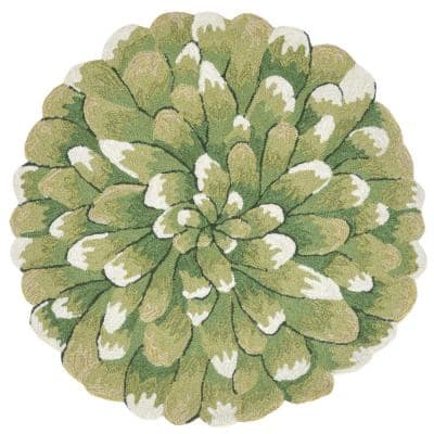 Woodside Crown Bloom Green 3 ft. Indoor/Outdoor Round Area Rug