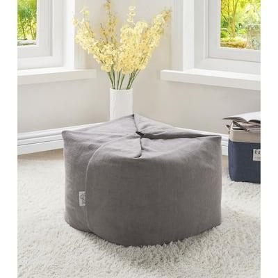 Magic Pouf Grey Microplush Bean Bag Chair Convertible Ottoman/Floor Pillow