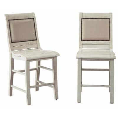 Willow Distressed White Upholstered Counter Chairs (2-Count)