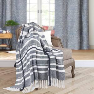 Textured Navy Blue/White Horizontal Striped Cotton Throw Blanket with Fringe