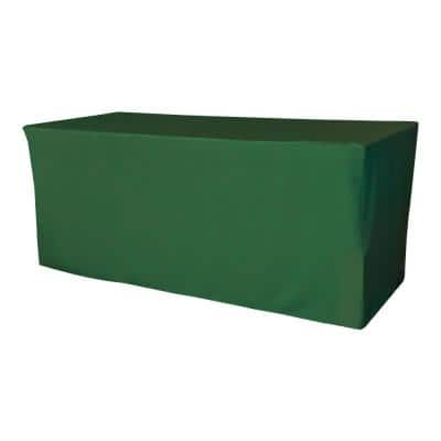 96 in. L x 30 in. W x 30 in. H Emerald Green Polyester Poplin Fitted Tablecloth