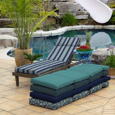 21 in. x 72 in. Sapphire Aurora Stripe Outdoor Chaise Lounge Cushion