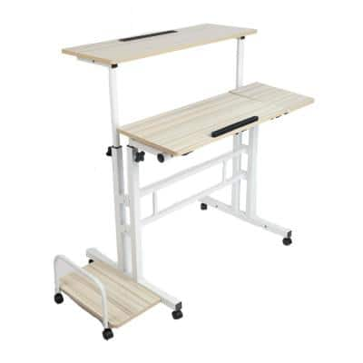 38.5 in. Rectangular White Standing Desk with Adjustable Height Feature