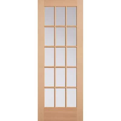 30 in. x 80 in. 15 Lite Unfinished Fir Front Exterior Door Slab
