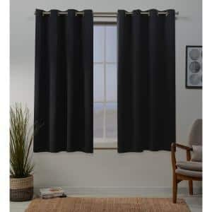 Black Thermal Grommet Blackout Curtain - 52 in. W x 63 in. L (Set of 2)