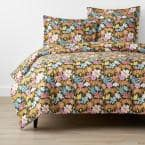 Company Organic Cotton Floral Feline Multi-Colored Full Cotton Percale Duvet Cover