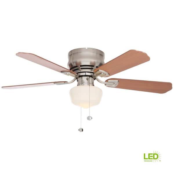 Middleton 42 In Led Indoor Brushed Nickel Ceiling Fan With Light Kit Ue42v Ni Shb The Home Depot