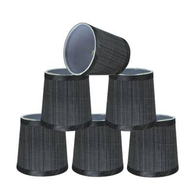 5 in. x 5 in. Grey and Black Hardback Empire Lamp Shade (6-Pack)
