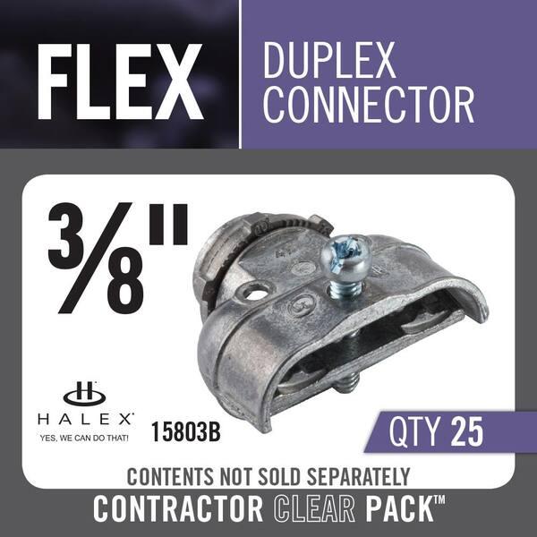 Halex 3 8 In Flexible Metal Conduit Fmc Duplex Connector 25 Box 15803b The Home Depot