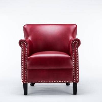 Holly Red Faux Leather Club Chair