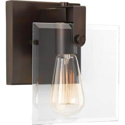 Glayse Collection 1-Light Antique Bronze Clear Glass Luxe Bath Vanity Light