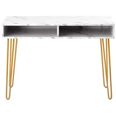 39.37 in. White Modern Marble Iron Foot Computer Table