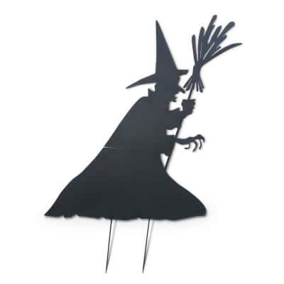 78 in. H Metal Halloween Witch Silhouette Yard Decoration with Broom