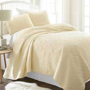 Damask Yellow Microfiber King Performance Quilted Coverlet Set
